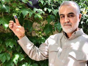 حاج قاسم سلیمانی پس از شرکت در انتخابات سال ۱۳۹۶