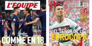 واکنش مطبوعات اروپا به دبل رونالدو و نزدیک شدن به رکورد دایی / کریس پادشاه یورو +تصاویر