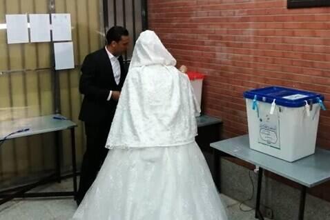 آغاز زندگی مشترک عروس و داماد رفسنجانی از پای صندوق رأی