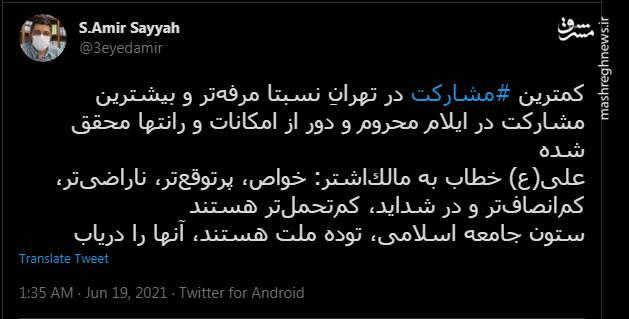 تفاوت مشارکت در تهران و ایلام