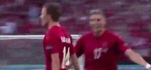 ویدیو| گل اول دانمارک به انگلیس ضربه زیبای دامسگارد