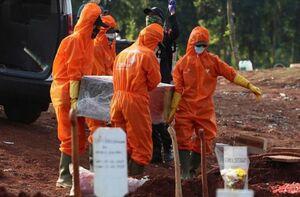 وضعیت آماده سازی قبر در اندونزی برای قربانیان کرونا+ فیلم