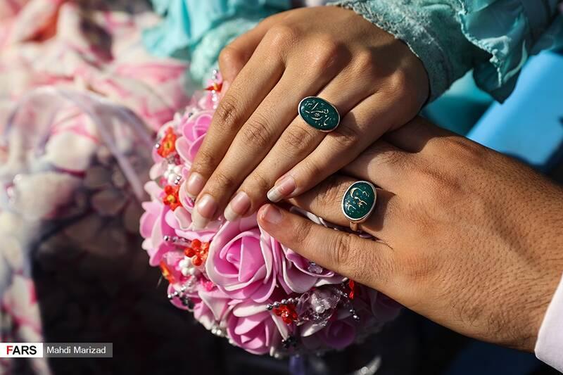 حلقه زوج جهادگر منقش به نام مبارک حضرت علی(ع) و حضرت فاطمه زهرا(س)