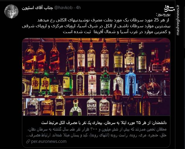 آمار یورونیوز از سرطان به علت مشروبات الکلی