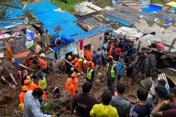 دستکم ۲۱ کشته در پی باران موسمی و رانش زمین در حومه بمبئی