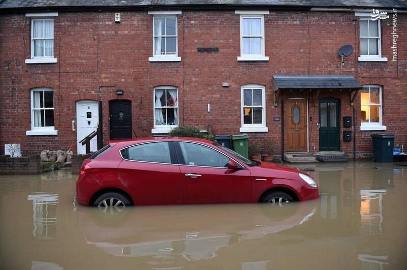 سیلاب در Shrewsbury انگلیس
