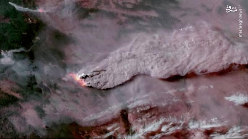 تصویر ماهواره ای از آتش سوزی گسترده در اورگان