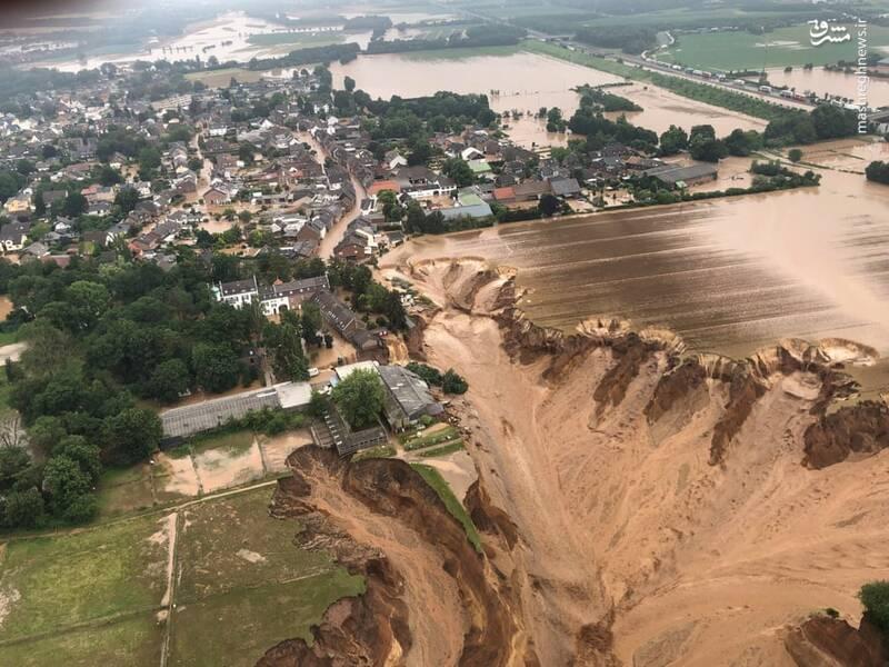 تصویر هوایی از رانش زمین در پی وقوع سیل در آلمان