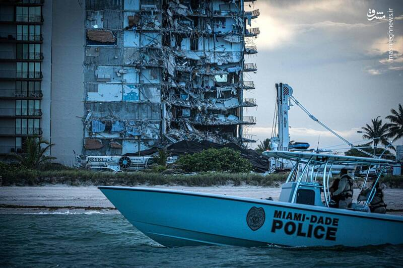 ریزش ساختمان در ساحل میامی همزمان با طوفان السا در فلوریدا