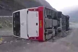 فیلم/ واژگونی مرگبار اتوبوس در محور هراز