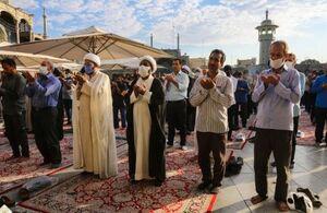 عکس/ اقامه نماز عید قربان در حرم حضرت معصومه(س)