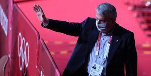 اعتراض صالحی امیری به وزیر ورزش ژاپن در پذیرش کاروان در فرودگاه