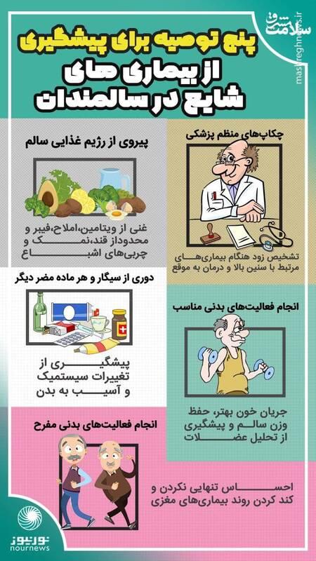 پنج توصیه برای پیشگیری از بیماریهای شایع در سالمندان