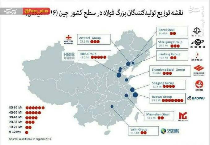 چینی ها کارخونه فولادشونو کجا ساختن؟ +نقشه