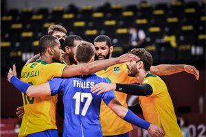 پیروزی مهم والیبال برزیل مقابل آمریکا