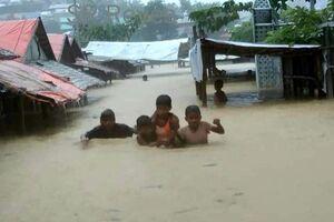 اردوگاههای مسلمانان «روهینگیا» در سیلاب +فیلم