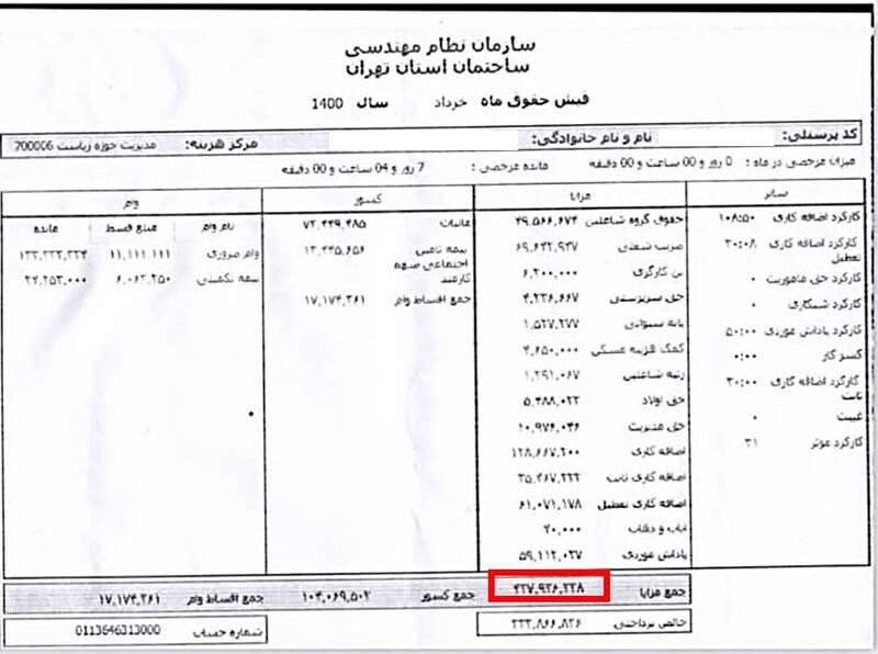 پرداخت حقوق نجومی در نظام مهندسی استان تهران