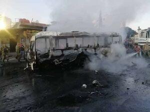 اولین تصاویر از انفجار اتوبوس در دمشق