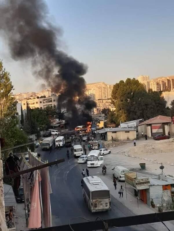 انفجار اتوبوس حامل نظامیان ارتش سوریه در دمشق
