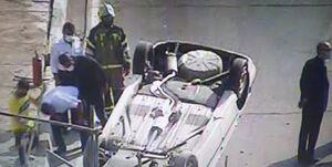 واژگونی پژو پرشیا در یکی از بزرگراههای تهران