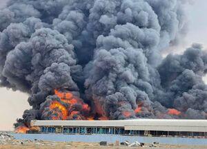 عکس/ آتشسوزی بزرگ در یک شهرک صنعتی امارات