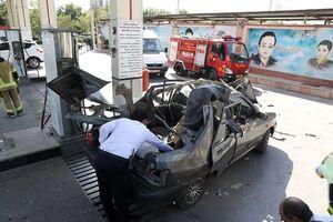 عکس/ انفجار مخزن خودرو پراید در جایگاه CNG