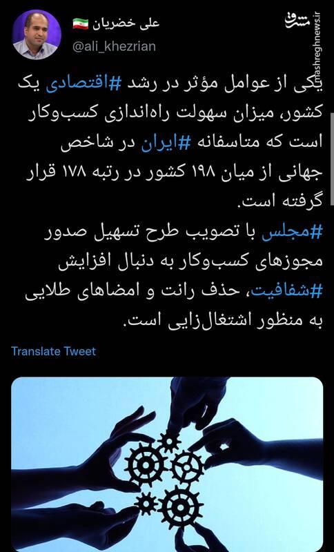 وضعیت ایران در شاخص جهانی سهولت راهاندازی کسب و کار