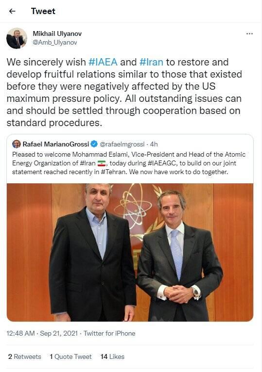 واکنش روسیه به دیدار مدیرکل آژانس اتمی با معاون رئیس جمهور ایران
