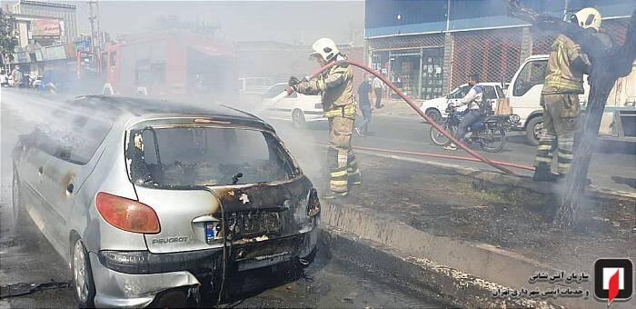 آتش سوزی پژو ۲۰۶ در بزرگراه فتح +عکس