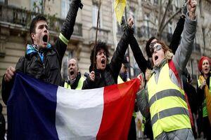 اعتراض صدها جلیقه زرد در اعتراض به بی عدالتی در پاریس