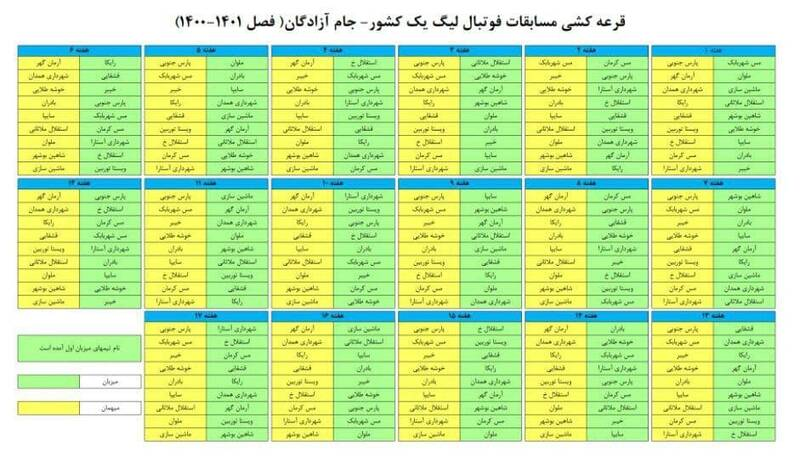 برنامه نیم فصل لیگ دسته اول فوتبال