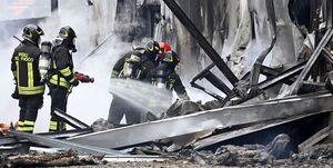 ۸ کشته بر اثر برخورد یک هواپیما با ساختمان در ایتالیا +عکس