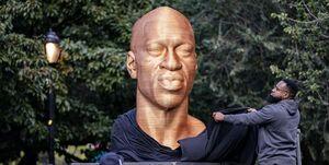 نژادپرستان آمریکا به مجسمه جورج فلوید هم رحم نکردند +عکس