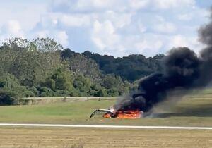 فیلم/ سوختن هواپیمای سقوط کرده آمریکایی