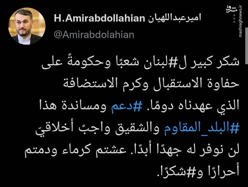 امیر عبداللهیان: عزتمند زندگی کردید و آزاده بودید؛ متشکرم
