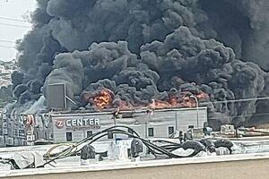 فیلم/ آتشسوزی در پالایشگاه نفت کویت