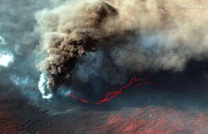 تصویر ماهوارهای از رود خروشان گدازههای آتشفشان