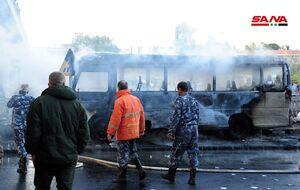 عکس/ انفجار در مسیر یک اتوبوس در دمشق