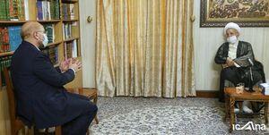 رئیس مجلس با آیتالله مکارم شیرازی دیدار کرد
