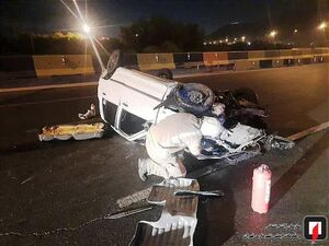 عکس/ واژگونی خودرو پراید در تهران