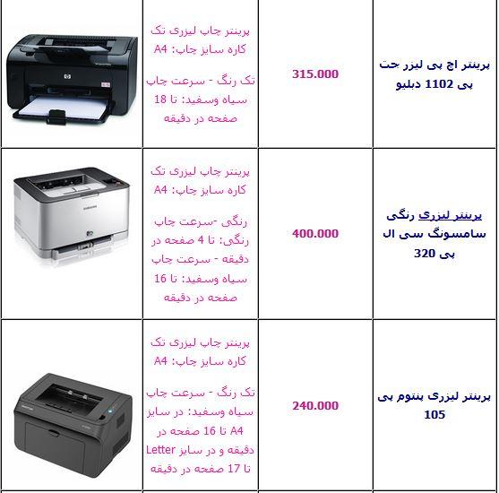 قیمت های چاپگر