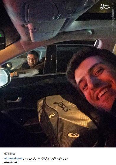 عکس/ سلفی مجری پرسپولیسی با پرویز مظلومی در ترافیک!