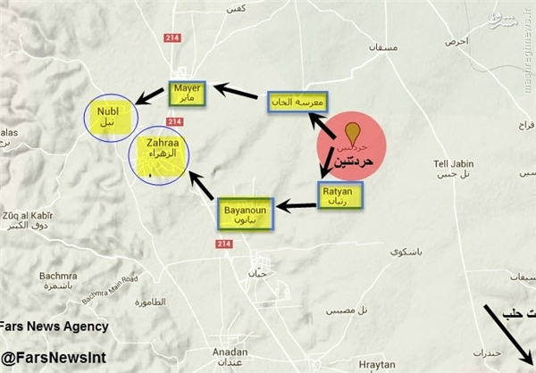 نُبُل و الزهراء سوریه در آستانه آزادسازی +نقشه