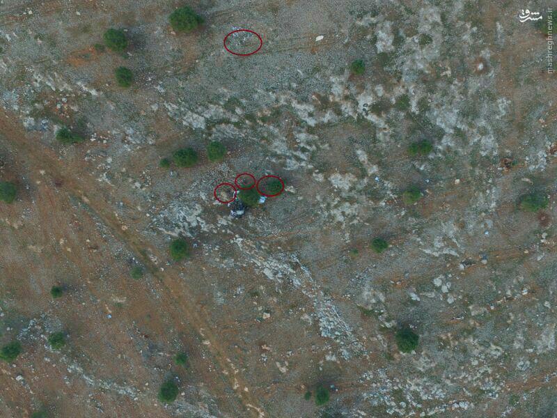 تصویر هوایی از موقعیت پیکر شهدای مدافع حرم در جنوب حلب
