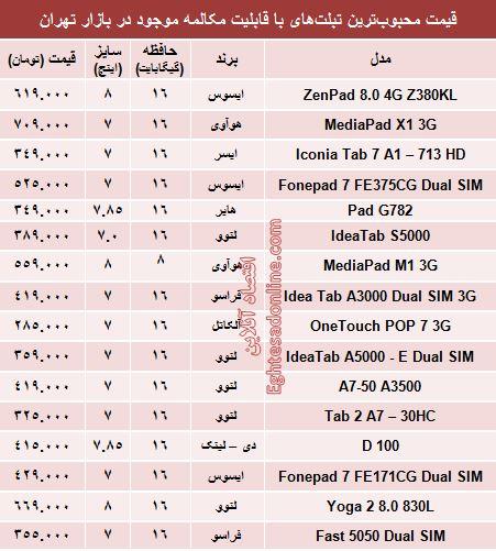 جدول/ قیمت تبلتهای محبوب با قابلیت مکالمه