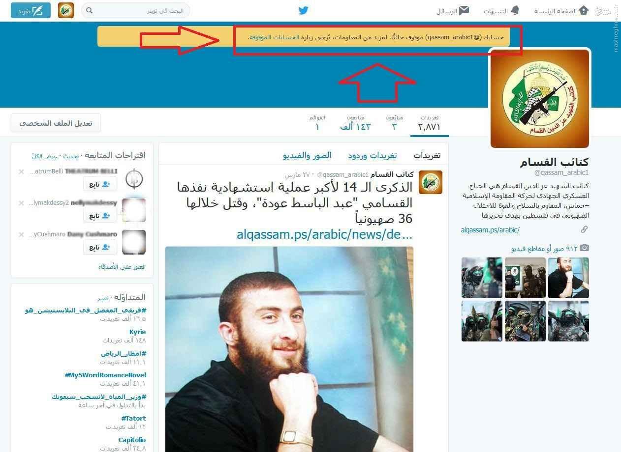 توئیتر حساب کاربری حماس را مسدود کرد+عکس