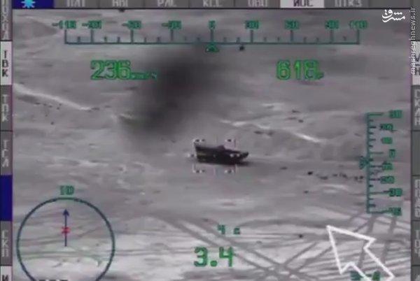 شکار شبانه زرهی داعش توسط بالگرد روسی+عکس