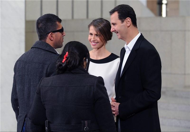 دیدار بشار اسد و همسرش با مجروحان ارتش سوریه+تصاویر