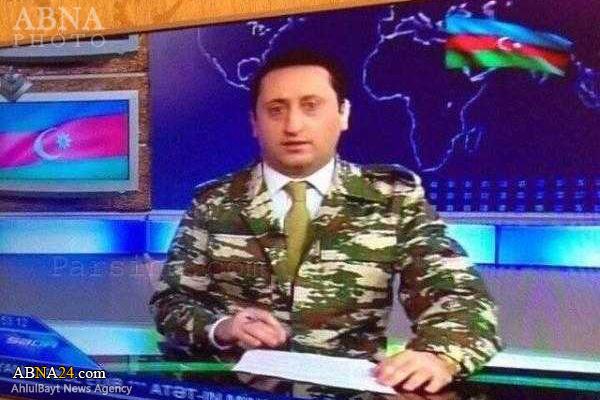 مجری تلویزیون آذربایجان با لباس نظامی ظاهر شد +عکس