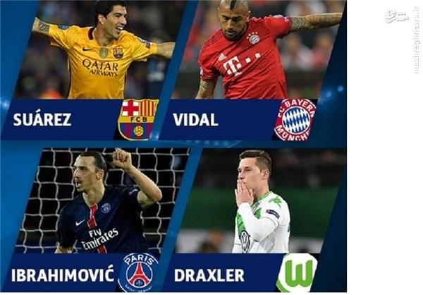 4 بازیکن برتر لیگ قهرمانان اروپا در یک قاب